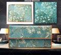 Novas Mulheres Da Moda Carteiras de Couro Real Projeto de Longo Bolsa Com Três Dobras de Van Gogh Pintura A Óleo de Embreagem Saco de Moeda Zip