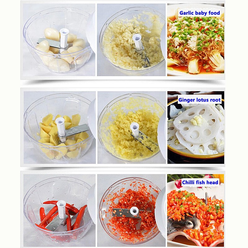 Pull-cord Food Chopper Fruit Vegetable Dicer Garlic Ginger Cutter Kitchen Gadgets Cooking Tools 6