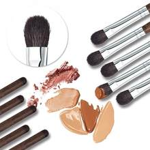 HUAMIANLI High-grade eye shadow brush wood handle flat round bottom brush Makeup powder soft fur eyeshadow wool Makeup brush W3(China)