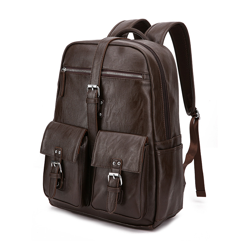 fashion men leather backpack for 14 laptop multi pockets travel male backpack brown waterproof 2019 casual
