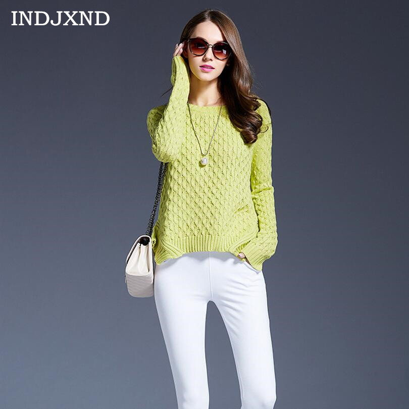 INDJXND New 3 Colours Women Sweater Pullovers Fashion Casual Long Sleeve O-Neck Wist Knitted Christmas Sweter Casacos Femininos