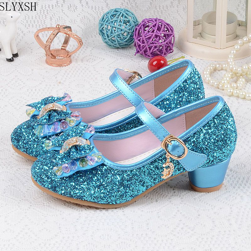 Girls Leather Wedding Shoes Baby Children's Sequins Princess Enfants Kids High Heels Dress Party Shoes For Girls 26-37