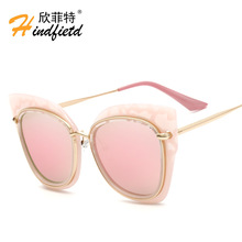 New Metal sunglasses fashion brand designer 2017 luxury cat's eye round sunglasses fashion classic brand for women cateye