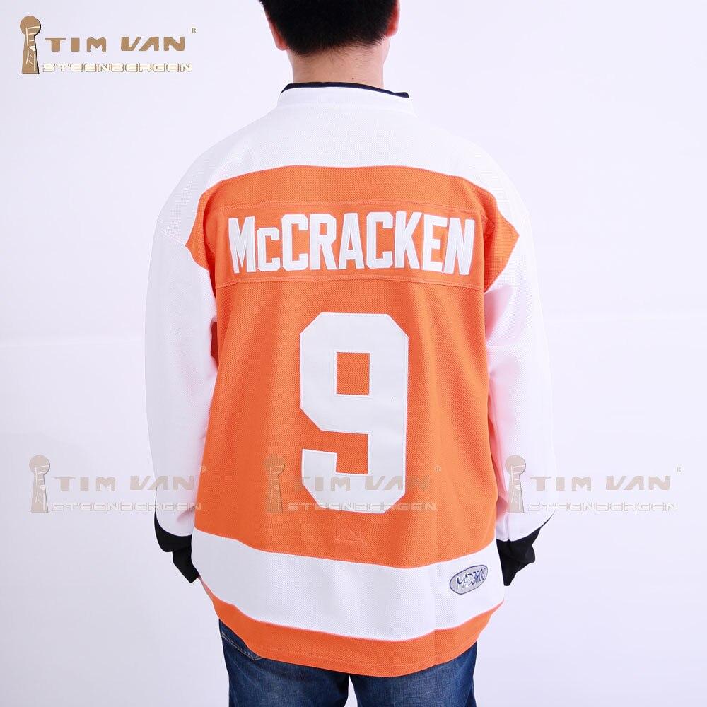 Тим Ван steenberge Маккрэкен 9 Сиракузы бульдоги воротам фильм Хоккей Джерси прошитой шитые-оранжевый