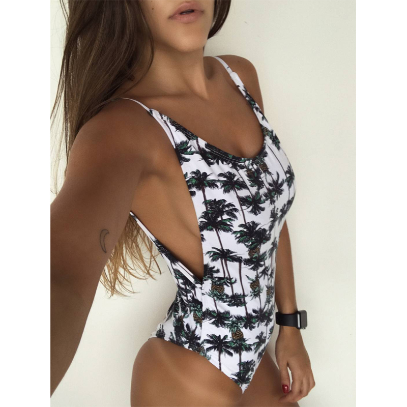 <font><b>Sexy</b></font> Printing Floral One Piece Swimsuit Women Monokini Backless V-<font><b>neck</b></font> Push Up Padded <font><b>Bikini</b></font> Swimsuit Swimwear Bathing Suit image