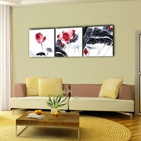 3 Panel Set Water Lily Chinese Ink Painting Canvas Art Home Office Hotel Wall Decoration Picture