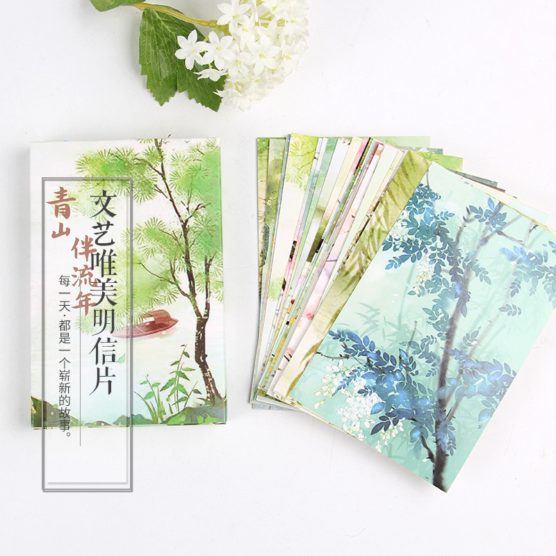 30 Sheets/Set Charming Aesthetic Scenery Postcard Greeting Card Message Card Birthday Gift Card