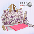 2016 New Design Mother Bag Baby Nappy Bags Large Capacity Maternity Mummy Diaper Bag Cotton Flower Style Retail 5 pcs/set