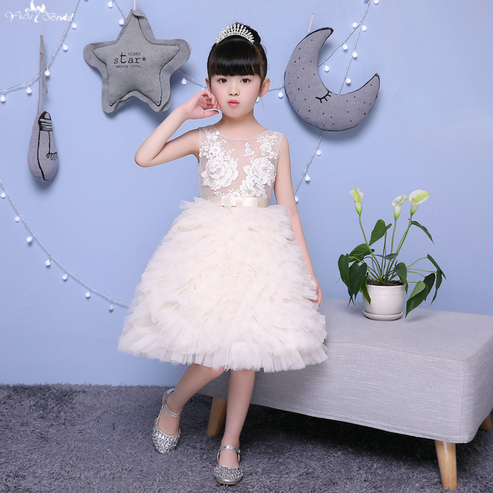 TF012 See Through Fashion Ruffle Champagne Strap With Bow   Flower     Girl     Dresses   Pageant Ball Gowns For   Girls