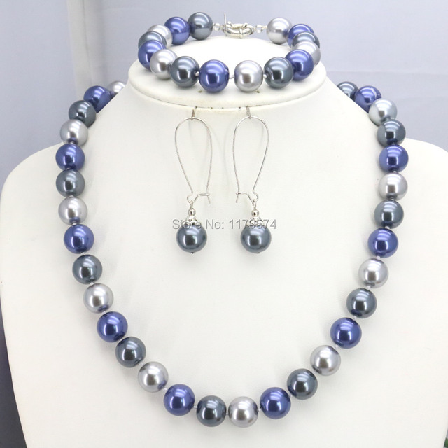 10mm Accessories Blue White Silver Glass Pearl Beads Necklace Bracelet Earrings Sets Jewelry Making Design Christmas Gifts Girls