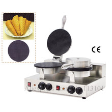 Double heads ice cream cone maker stainless steel ice cream cone machine pancake waffle maker with thermostat and timer