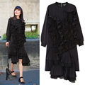 [TWOTWINSTYLE] 2017 Spring Pleated Ruffles Patchwork Long Sleeve Loose Pullovers Ladies Party Dresses Women New Streetwear