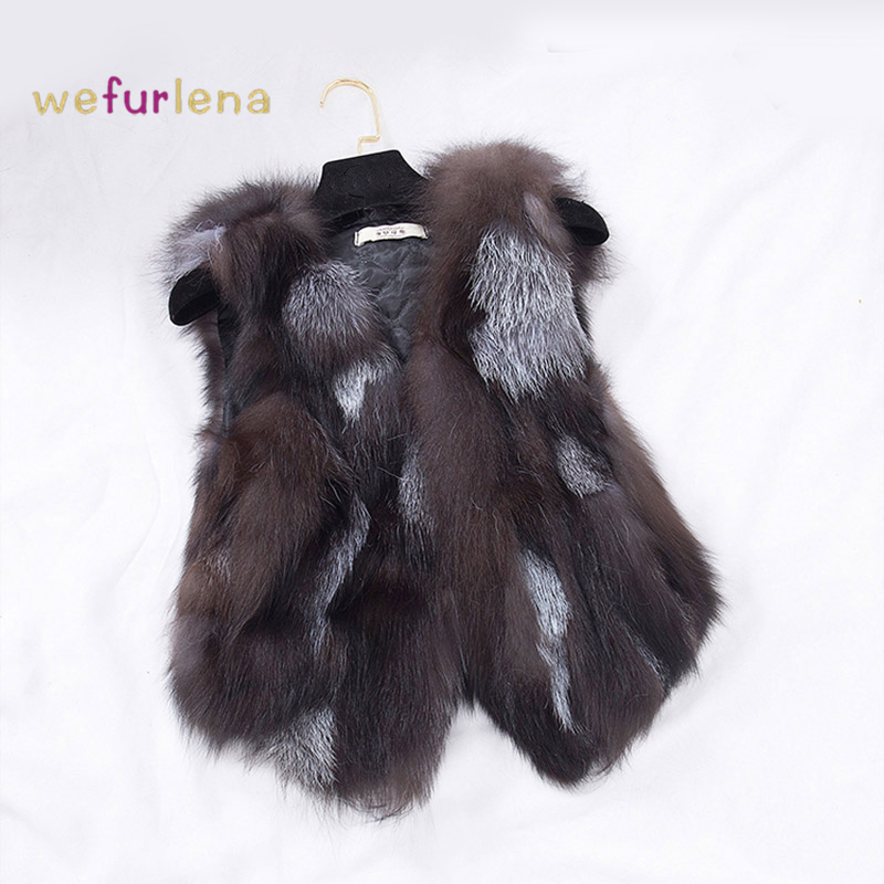 2017 New Design Nature Real Silver Fox Fur Vest Genuine Fox Fur Gilet Winter Fur 0utwear