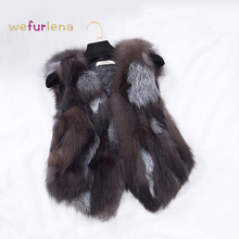 2017 New Design Nature Real Silver Fox Fur Vest Genuine Fox Fur Gilet Winter Fur 0utwear Womens With Fox Heads w013