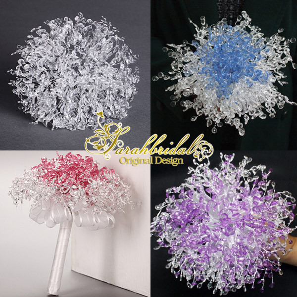 Bridal Artificial Wedding Bouquet Wedding Decoration Bridesmaid Flower Beaded Srystal In Stock Red White Blue Purple In Stock