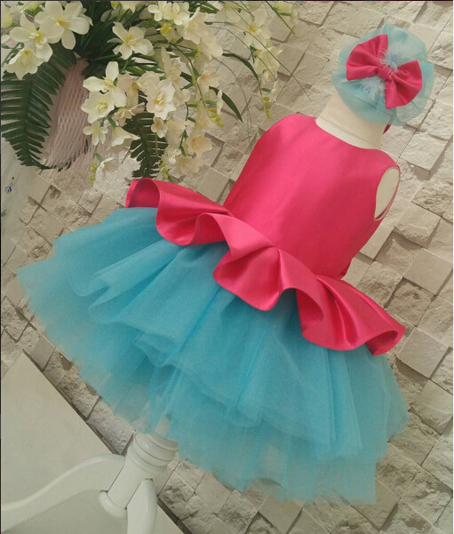 Cute pink and blue baby girl dress with tulle ruffle tulle toddler pageant party dress with bow 1st birthday party outfits