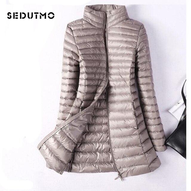 c4351d2d4 US $28.09 53% OFF SEDUTMO Winter Plus Size 4XL Womens Down Jackets Ultra  Light Duck Down Doat Long Puffer Jacket Slim Black Parkas ED037 -in Down ...