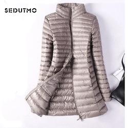SEDUTMO Winter Plus Size 4XL Womens Down Jackets Ultra Light Duck Down Coat Long Puffer Jacket Slim Black Parkas ED037