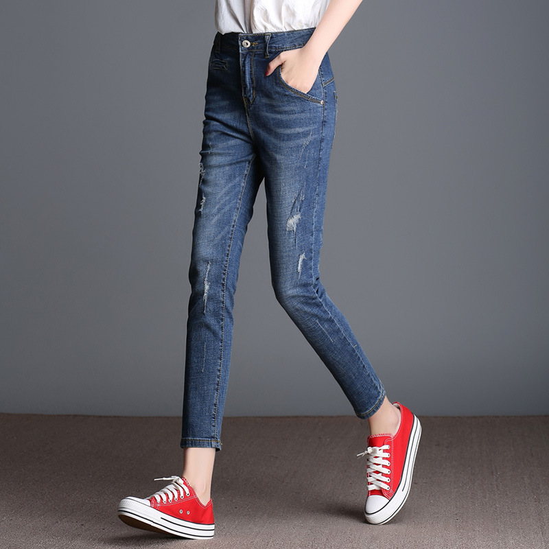Wholesale High Waist jeans Women 2017 Spring Stretch Slim Ankle Length Pants For Female Ripped jeans Skinny Pencil Trousers 8XL spring new women jeans high waist stretch ankle length slim pencil pants fashion female jeans 2017 plus size sexy girl jeans