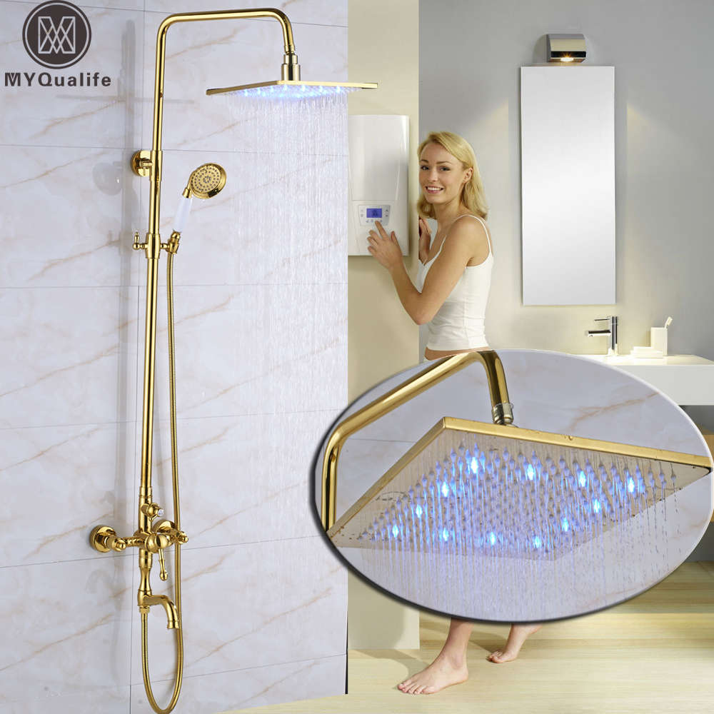Golden Led Light Square 12Rain Shower Head Bath Shower Faucet Single Handle 3-water Function Shower Mixers Wall Mounted