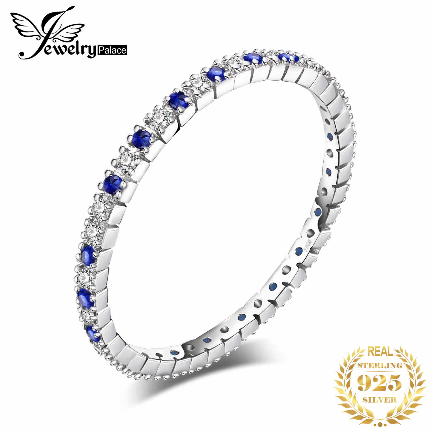 JewelryPalace Exquisite Created Blue Spinel Gemstone Rings 100% 925 Sterling Silver Rings Wedding Bands Women Fine Jewelry