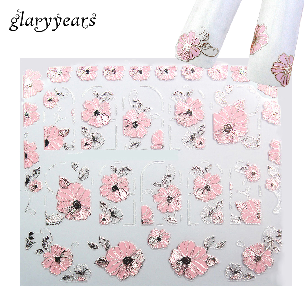12 Designs 1 Sheet Pink 3D Embossed Blooming Flower Nail DIY Manicure Sticker Sweet Nail Art Beauty Makeup Decal Tool Profession sweet manicure decal accessory cartoon nail sticker for children