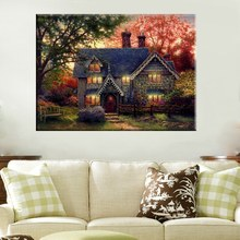 Autumn Landscape Artwork Thomas Kinkade Reproduction Cottage in Forest Prints Canvas Home Decoration Wall Art Frameless