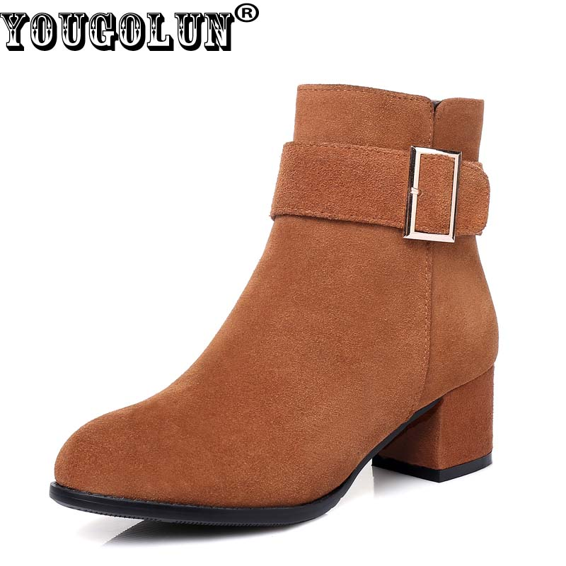 YOUGOLUN Women Ankle Boots Cow Suede Winter Nubuck Leather Buckle Square Mid Heels Brown Black Shoes #Y-167 armoire hot sales black yellow red brown gray flats women slouch ankle boots solid ladies winter nude shoes aa 3 nubuck