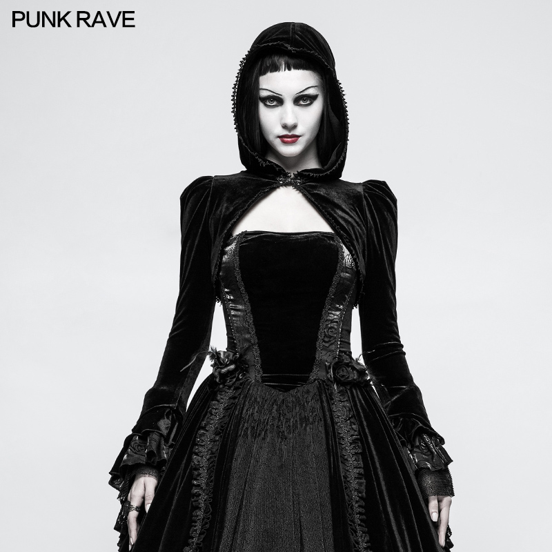 100% Wahr Punk Rave Frauen Gothic Samt Kurze Jacke Mode Vintage Abend Party Mit Kapuze Mantel Cape Bühne Leistung Tops Für Frauen