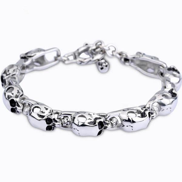 MB305 Bracelet 22CM Width 0.9CM 316L Stainless Steel Jewlery Men Gift Jewelry Skull Silver Bangle,Fahion, modern, wholesale
