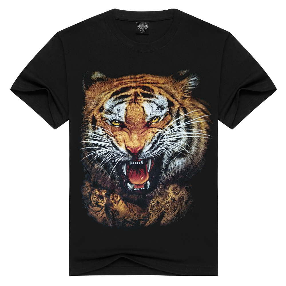 3d ferocious tigers printing men's 100% cotton t shirt men black t