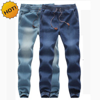 Fashion High Quanlity Men Elastic Waist Denim Jeans Ankle Banded Pants Mens Drawstring Stretch Leg Harem