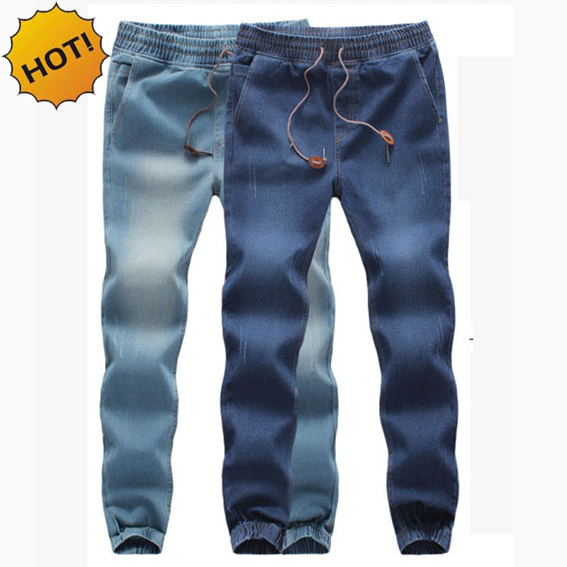 Fashion High Quanlity Men Elastic Waist Denim Jeans Ankle Banded Pants Mens Drawstring Stretch Leg Harem Pants Plus Size M- 5XL
