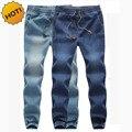 Moda Alta Quanlity Homens Elástico Na Cintura Denim Jeans Ankle Banded calças Com Cordão Mens Estiramento Perna harem pants Plus Size M-5XL