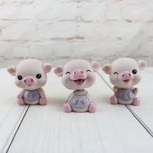 Creative Cute Shake Head Piggy Cake Decorations Lucky Miniature Figurines for Car Decoration Resin Crafts Desk