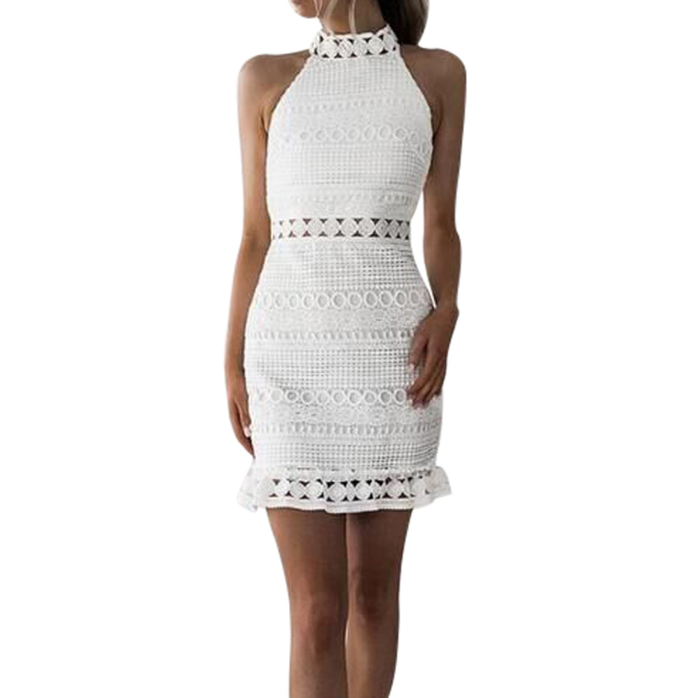 Vestido ajustado de encaje sin mangas para mujer, Vestido ajustado de fiesta de cóctel, Vestido Blanco Cortos