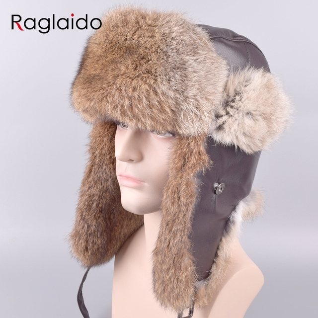 Raglaido Ushanka Fur Hats for Men Outdoor Winter Real Rabbit Fur Trapper  Hats+Genuine leather e3b732933d1