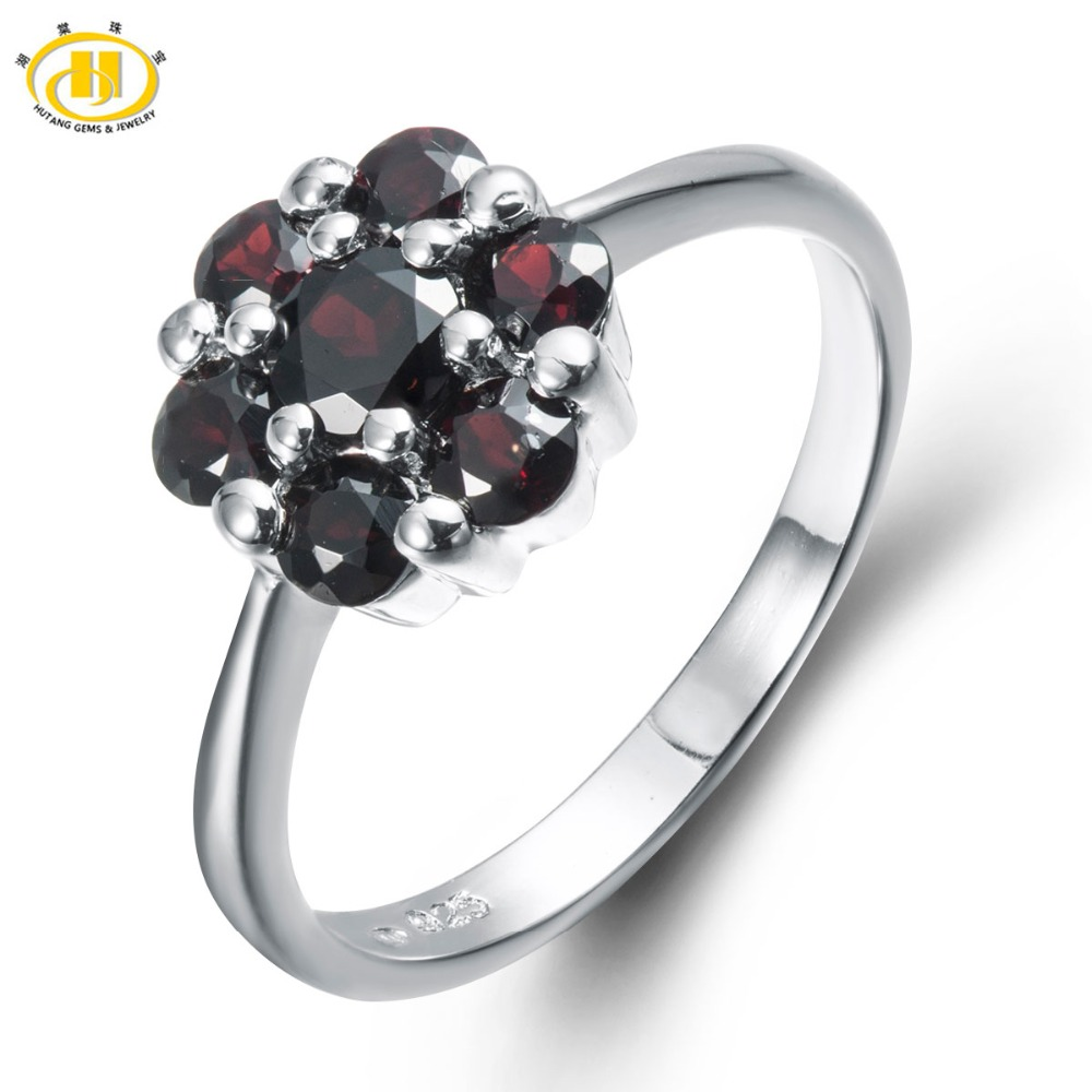 Hutang Cute Natural Black Garnet Solid Ring 925 Sterling Silver Floral Ring For Women Fine Jewelry Genuine Gemstone Women Rings