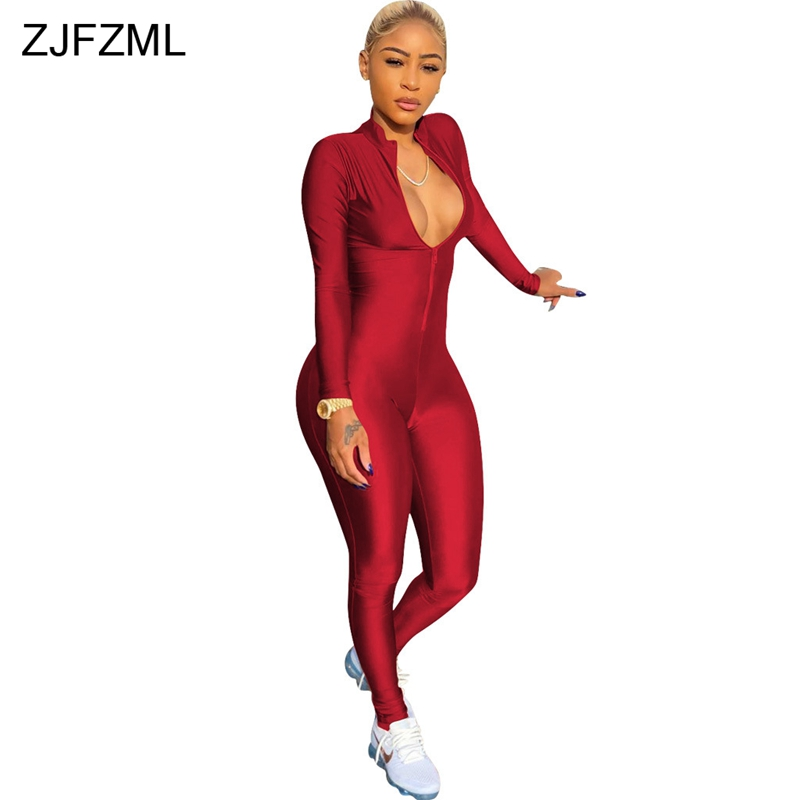 ZJFZML Front Zipper Sexy Party   Jumpsuit   Women Deep V-Neck Long Sleeve Skinny Overall Casual Spring Femme Club Full Length Romper