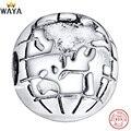 WAYA 925 Prata Esterlina Encantos Clipe de Terra Mapa Charme Europeu Fit Cobra Cadeia Pulseira Original Jóias Fazer