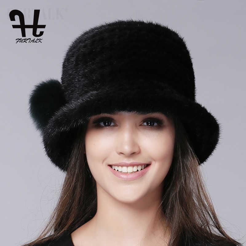 ac9eef1b093 ... FURTALK Luxury Knitted mink fur hat Fedora Bucket hat winter fur hats  for women ...
