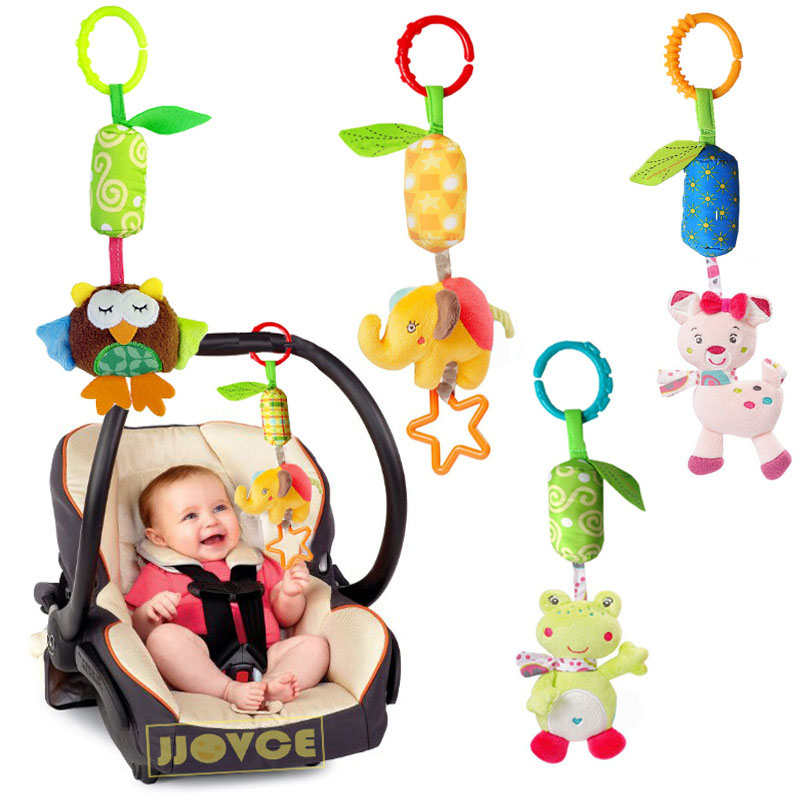 Infant Rattle Cartoon Animal Models Baby Stroller Tinkle Hand Bell Campanula Pendant Plush Educational Toys