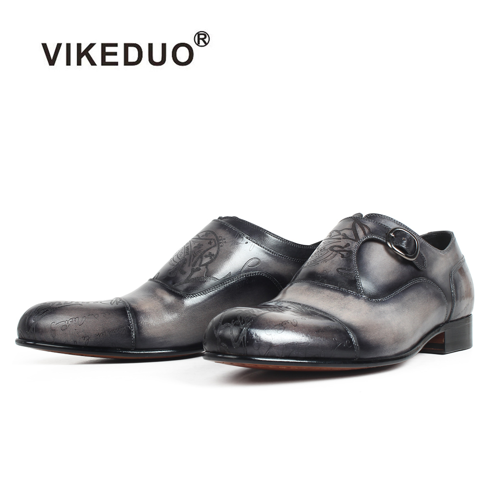 VIKEDUO 2019 Letter Laser Monk Strap Shoes Patina Genuine Leather Men's Shoes Wedding Office Bespoke Formal Dress Zapatos Hombre