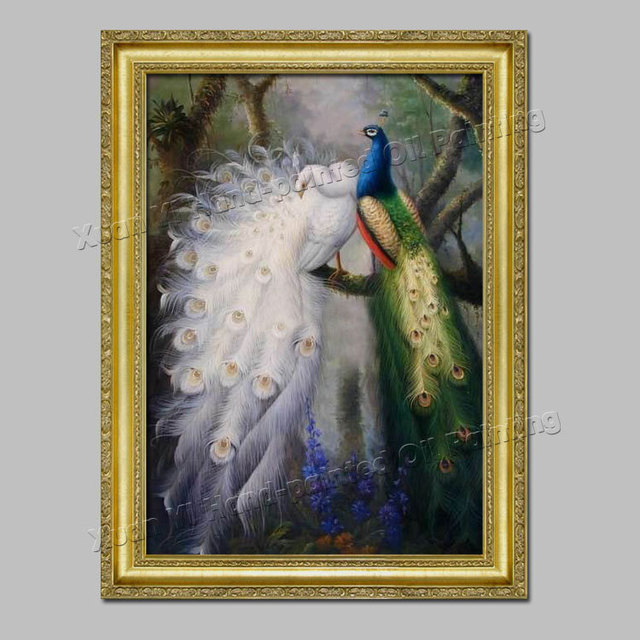 6cc30ef65a9 Top Quality Handpainted Modern Painting White Peacock Painting Home  Decoration Wall Paintings For Living Room (No Frame)