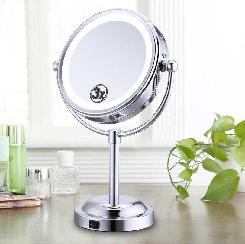 6-tommer 3X forstørrelsesrunde LED-belyset badeværelse Make Up Kosmetisk barberspejl Rund form Vanity Rotating Cosmetic Mirror