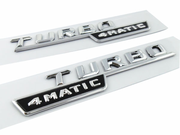 2 pcs Chrome Turbo 4MATIC for C E S CL SL CLK SLK CLS Class Fender Emblem Badge Sticker chrome c180 letters for c 180 c class trunk emblem badge sticker