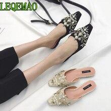 купить Fashion Women Slippers Slip On Mules Square Toe Low Heel Women Shoes Summer mules String Bead Slipper Wedding Shoes по цене 1440.69 рублей