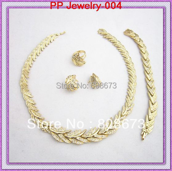 High Quality!!18K Real Gold Plated Sparkle Crystal Necklace!! Health Wedding Jewelry Sets!!Luxury Gold Jewelry!!
