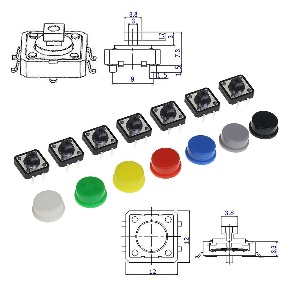 Tactile Push Button Switch Momentary 12*12*7.3MM Micro Switch Button + 5 Colors Tact Cap for DIY Kit 30pcs tactile switch momentary tact button mini push button 6x6x5mm middle 2pin dip ever for mouse toys