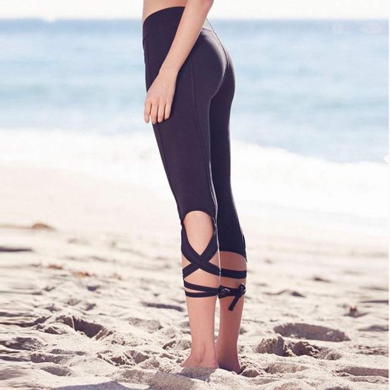 Fashion Women Lace Up Ballet Dancing Leggings High Waist Push Up Fitness  Skinny Pants Black Workout Leggings Female Sportswear-in Leggings from  Women s ... bf4b1a8c15a